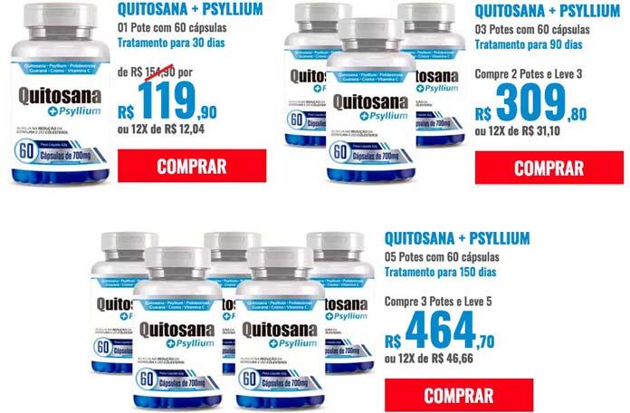 Quitosana + Psyllium preço